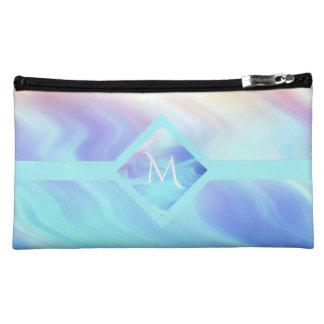 Pastel Turquoise Waves Monogram Cosmetic Bag