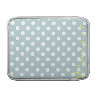 pastel turquoise & white dots with name MacBook sleeve