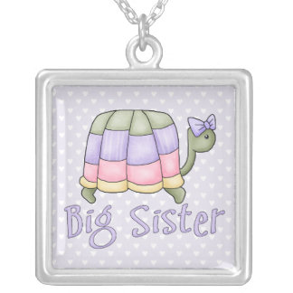 Pastel Turtle Big Sister Silver Plated Necklace
