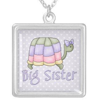 Pastel Turtle Big Sister Square Pendant Necklace