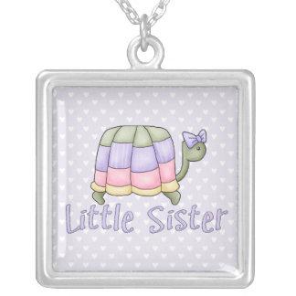 Pastel Turtle Little Sister Square Pendant Necklace