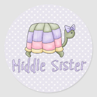 Pastel Turtle Middle Sister Classic Round Sticker