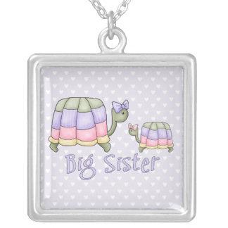 Pastel Turtles Big Sister Square Pendant Necklace