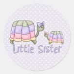 Pastel Turtles Little Sister Classic Round Sticker