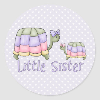 Pastel Turtles Little Sister Classic Round Sticker