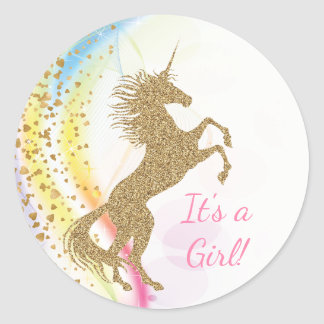 Pastel Unicorn Baby Shower Stickers