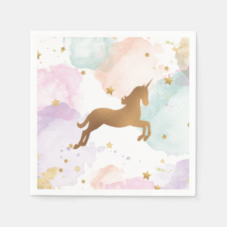 Pastel Unicorn Birthday Party Paper Napkin