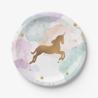 Pastel Unicorn Birthday Party Paper Plate at Zazzle