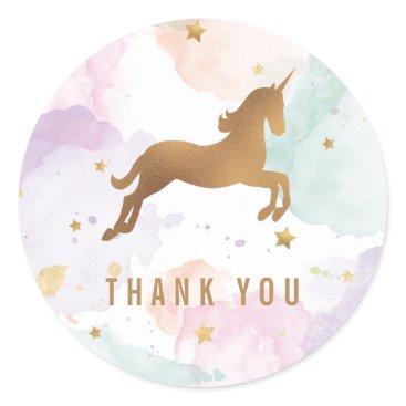 ClementineCreative Pastel Unicorn Birthday Party Thank You Classic Round Sticker