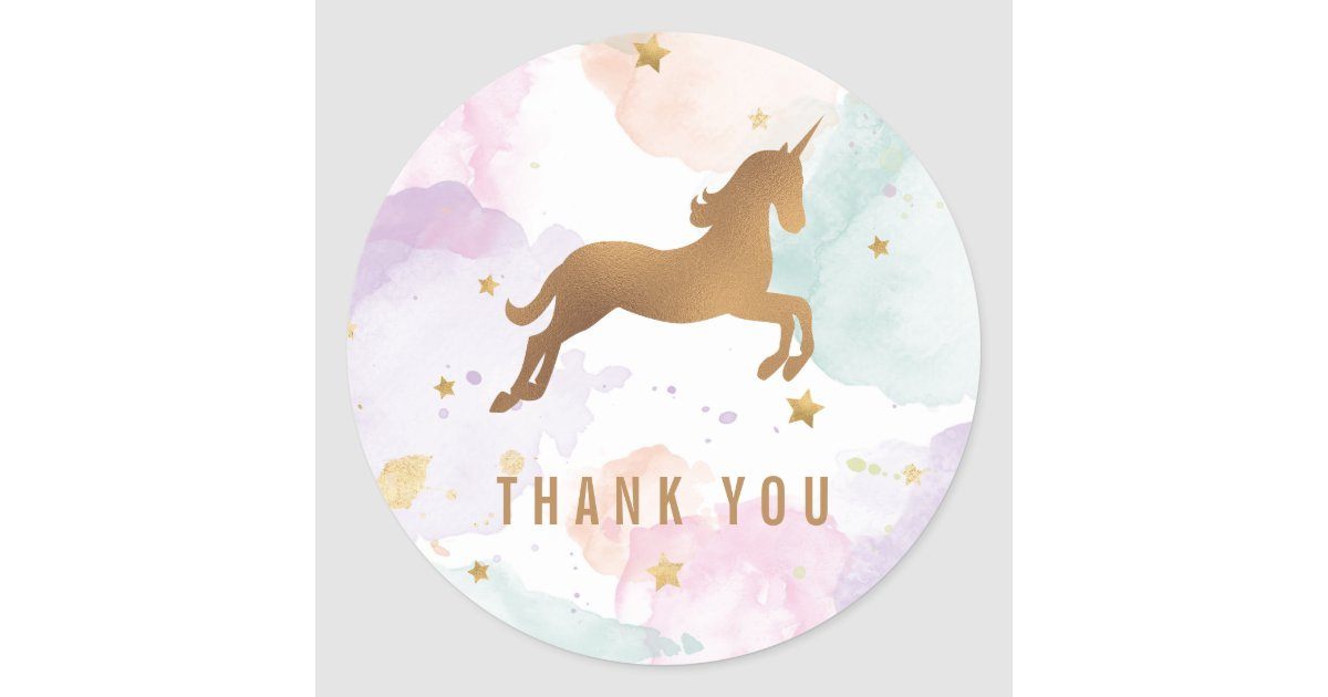 Pastel Unicorn Birthday Party Thank You Classic Round
