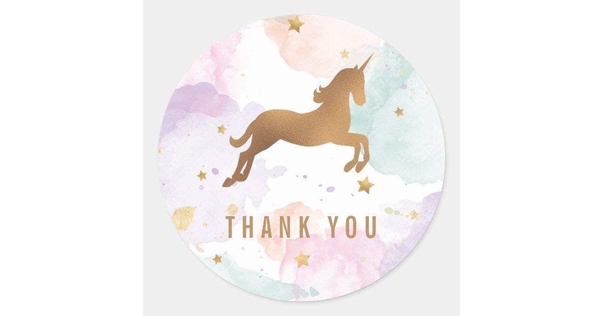 Pastel Unicorn Birthday Party Thank You Classic Round Sticker | Zazzle.com