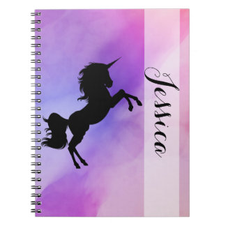 Pastel Unicorn Design Notebook With Your Name
