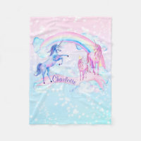 Pastel Unicorn Personalized Fleece Unicorn Blanket