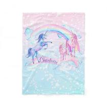 Pastel Unicorn Personalized Fleece Unicorn Blanket