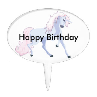 Pastel Unicorn Pink and Blue Cake Topper