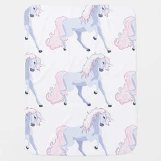 Pastel Unicorn Pink and Blue Receiving Blanket