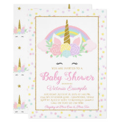 Pastel Unicorn Rainbow Baby Girl Shower Invitation