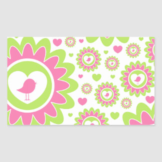 Pastel Valentine Bird Heart Rectangular Sticker