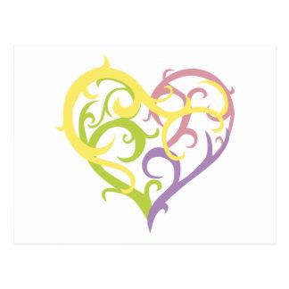pastel vine tattoo heart postcard