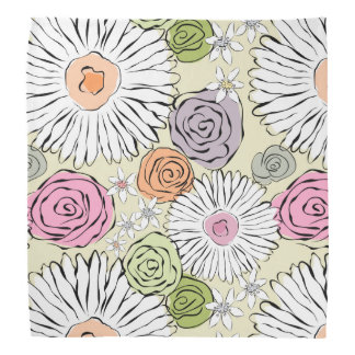 Pastel vintage abstract spring flowers bandana