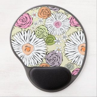 Pastel vintage abstract spring flowers gel mouse pad