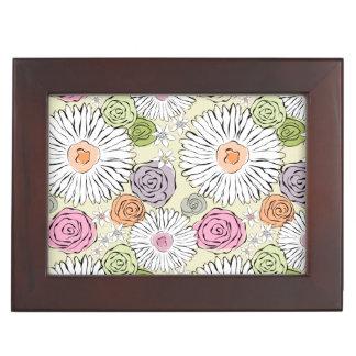 Pastel vintage abstract spring flowers keepsake box