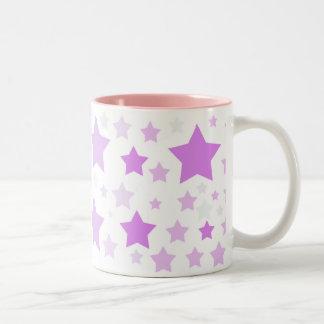 Pastel Violet Gray Stars Two-Tone Coffee Mug