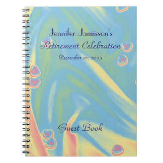 Pastel w/ Pink Hearts Retirement Party Guest Book Spiral Note Books