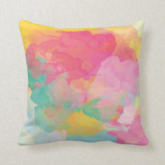 Pastel water color pink yellow aqua decor pillow