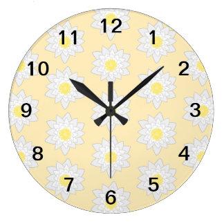 Pastel Water Lilies. Large Clock