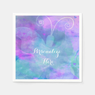 Pastel Watercolor Butterfly Personalized Party Paper Napkin