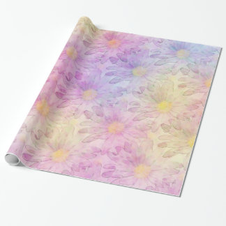 Pastel Watercolor Daisies Wrapping Paper