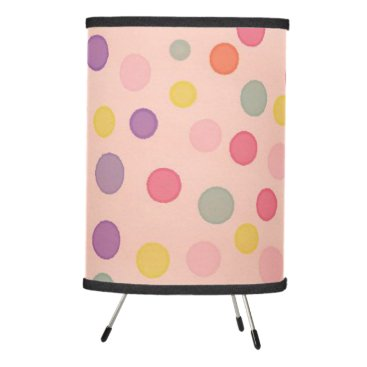 Beach Themed Pastel watercolor dots on pink tripod lamp