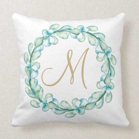 Pastel Watercolor Eucalyptus Wreath Monogram Throw Pillow