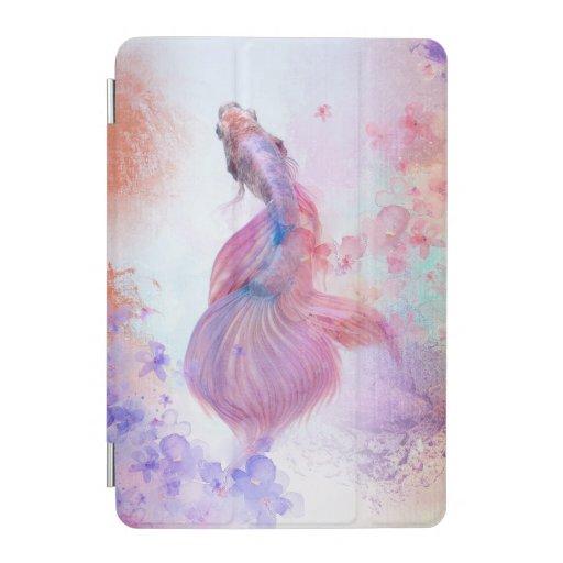 Pastel Watercolor Fish & Flowers iPad Mini Cover