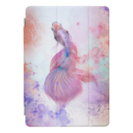 Pastel Watercolor Fish & Flowers iPad Pro Cover