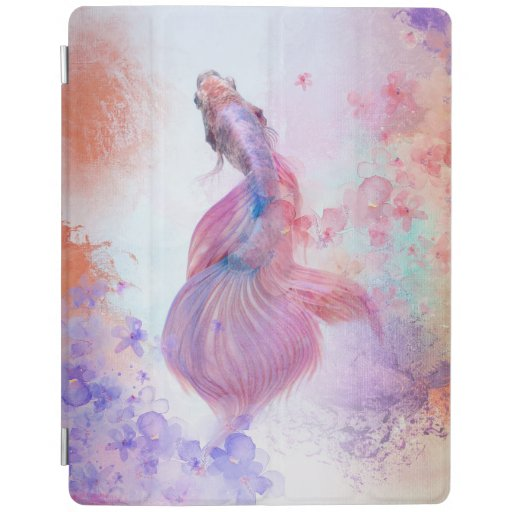 Pastel Watercolor Fish & Flowers iPad Smart Cover