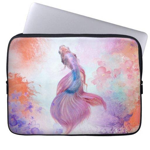 Pastel Watercolor Fish & Flowers Laptop Sleeve