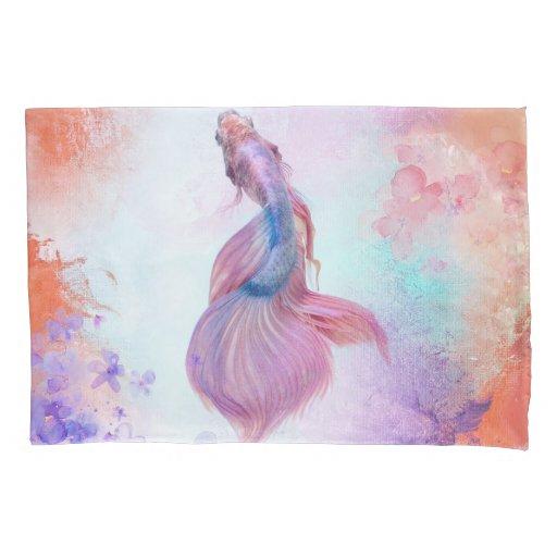 Pastel Watercolor Fish & Flowers Pillow Case