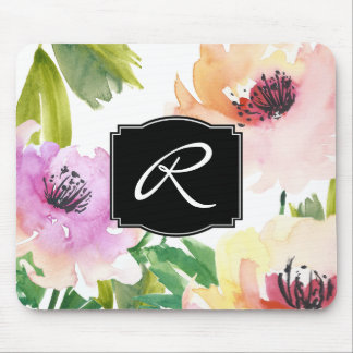 Pastel Watercolor Floral Monogrammed Mouse Pad