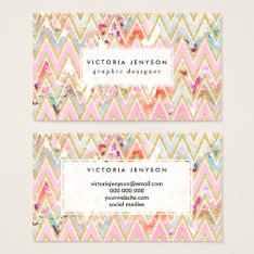 Pastel Watercolor Floral Pink Gold Chevron Pattern Business Card at Zazzle