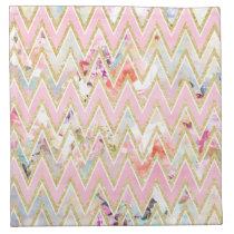 Pastel watercolor floral pink gold chevron pattern cloth napkin