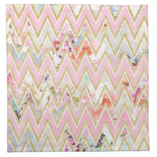 Pastel watercolor floral pink gold chevron pattern cloth napkin