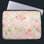"""Pastel watercolor floral pink gold chevron pattern computer sleeve<br><div class=""""desc"""">a girly, elegant faux gold glitter , pastel pink and white modern geometric chevron pattern on a chic floral pattern featuring beautiful and preppy vintage victorian roses and peonies in light pink and orchid purple on a modern and abstract pink and teal pastel watercolor strokes pattern . perfect feminine gift...</div>"""