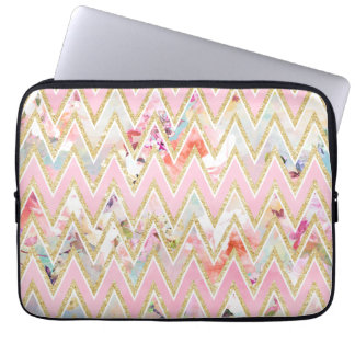 Pastel watercolor floral pink gold chevron pattern computer sleeve