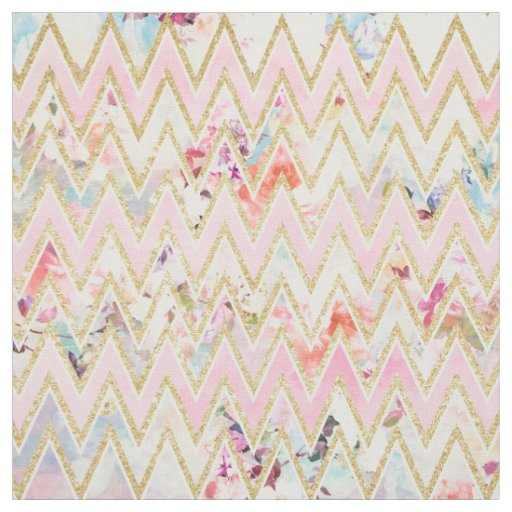 Chevron print fabric by the yard - Pastel Watercolor Floral Pink Gold Chevron Pattern Fabric