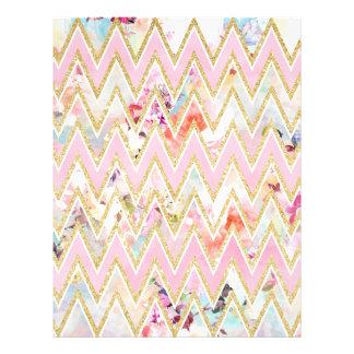 Pastel watercolor floral pink gold chevron pattern flyer