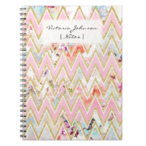 Pastel watercolor floral pink gold chevron pattern notebook