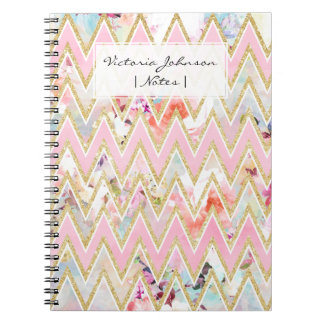 Pastel watercolor floral pink gold chevron pattern spiral notebook