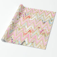 Pastel watercolor floral pink gold chevron pattern wrapping paper